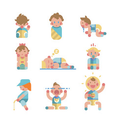 set of cute small babies in action vector image vector image