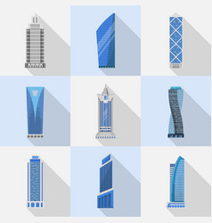 skyscrapers set of isolated icons vector image vector image
