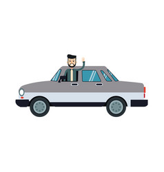 character bearded man with gray car sedan vector image