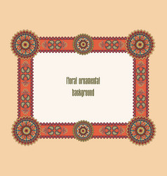 oriental floral frame ornamental border mosaic vector image vector image