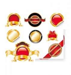 set of gold label stickers vector image