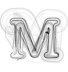 Abstract hand drawn letter m vector