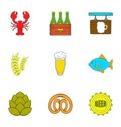 Alcohol icons set cartoon style vector