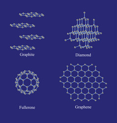 Allotropes of carbon graphite diamond fullerene vector