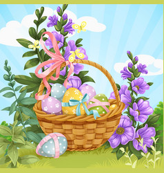 basket with easter eggs on lawn vector image