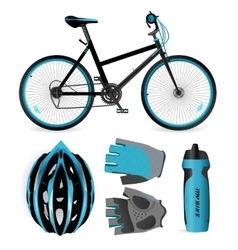 Bike or Bicycle accessories Helmet gloves and vector image