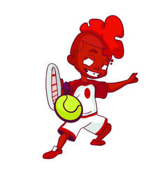 black boy with orange hair and a white red sports vector image