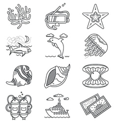Black line icons for tropical rest vector image