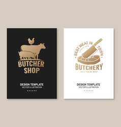 butcher shop badge or label with cow pig chicken vector image