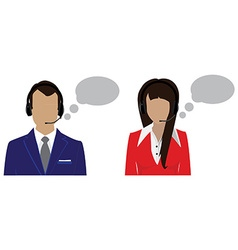 Call center female and male vector image