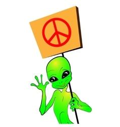 Cartoon alien with a placard vector image