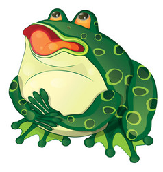 Cartoon fat frog sits and croaks vector