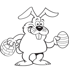 Cartoon rabbit holding a basket and an Easter egg vector image
