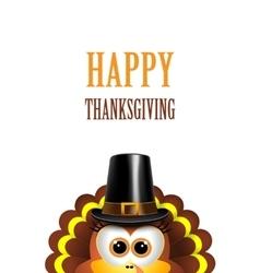 cartoon turkey in a pilgrim hat card vector image