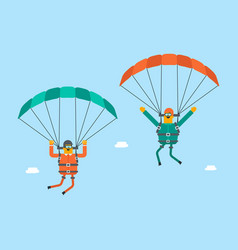 Caucasian white men flying with a parachute vector