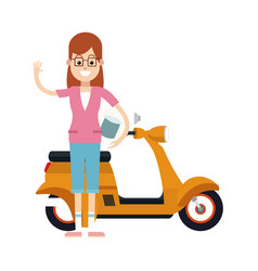 character woman with glasses and yellow scooter vector image