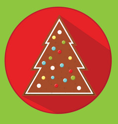 christmas cookie gingerbread spruce flat vector image