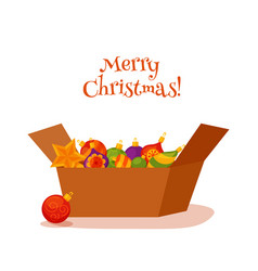 christmas decorations in the box vector image