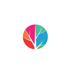 colorful circle tree logo symbol design element vector image