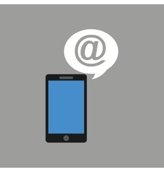 Concept social media hand holding smartphone mail vector