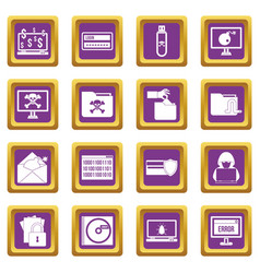 criminal activity icons set purple vector image vector image