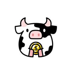 cute cow love heart cartoon logo icon vector image