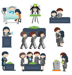 Different events at funeral vector