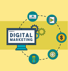 digital marketing computer email video money vector image