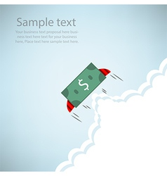 Dollar Bank rocket flying with wings EPS10 vector