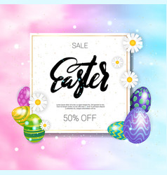 Easter sale poster design holiday discounts vector