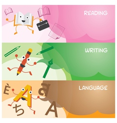 Education Characters Banner Read Write Language vector