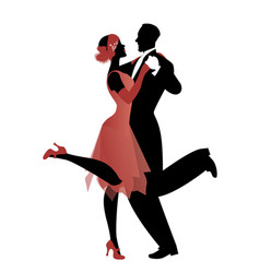 Elegant couple wearing 20s style clothes dancing vector