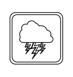 emblem cloud with ray icon vector image