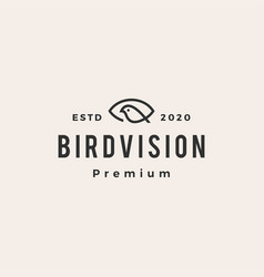 eye bird vision hipster vintage logo icon vector image