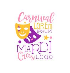 festive logo original design for mardi gras vector image