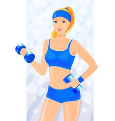 Fitness girl exercises with dumbbells vector