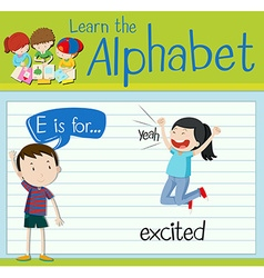 Flashcard letter E is for excited vector
