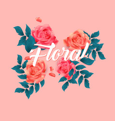 floral roses design pink background image vector image