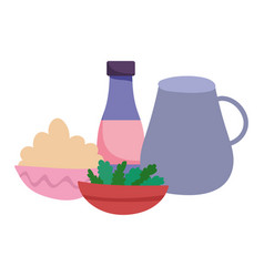 Food bowl and vegetable jar and bottle ingredients vector