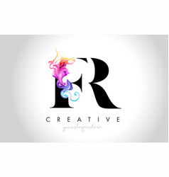 Fr vibrant creative leter logo design with vector