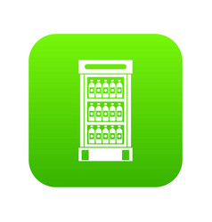fridge with refreshments drinks icon digital green vector image