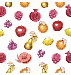 fruits hand drawn seamless pattern retro vector image