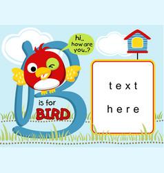 Funny bird cartoon with text template vector