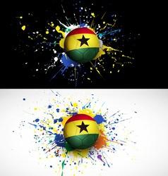 Ghana flag with soccer ball dash on colorful vector image