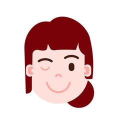 Girl head emoji personage icon with facial vector