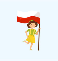 girl holding national flag of poland design vector image