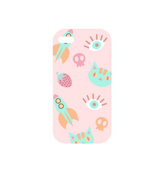 Girlish light beige phone cover with colorful vector