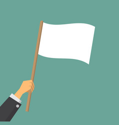 give up hand worker waving a white flag vector image