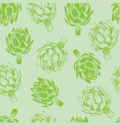 green artichoke seamless background vector image