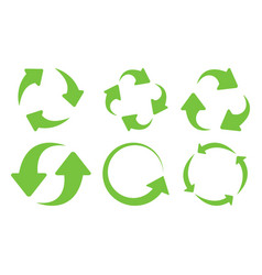 Green recycle icons set vector